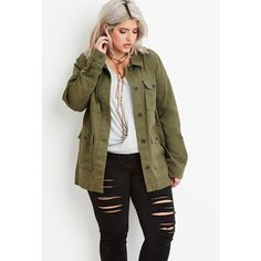 Forever 21 Plus Women's Plus Size Utility Jacket ($30) ❤ liked on Polyvore featuring outerwear, jackets, brown cotton jacket, forever 21, plus size jackets, collar jacket and brown jacket