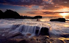 Waves on the rocky shore
