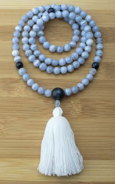 Blue Lace Agate with Blue Tigers Eye Mala Necklace Meditation Beads