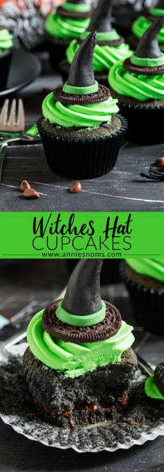 These Witches Hat Cupcakes are a cute and fun way to get creative this Halloween. Homemade fondant toppers with a chocolate cupcake and green frosting! Halloween Baking, Halloween Desserts, Halloween Treats, Halloween Cookies, Halloween Cupcakes Easy, Halloween Dinner, Halloween Horror, Halloween Halloween, Halloween Decorations