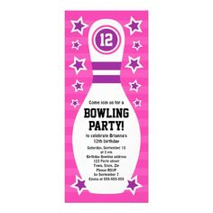 Bowling invitations templates free free printable bowling bowling pin birthday party invitation with stars pronofoot35fo Images