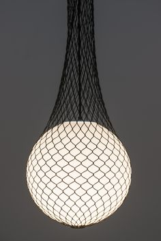 Glass and fabric pendant lamp NETWORK By Formagenda design Benjamin Hopf light, lights, lighting, lu Cool Lighting, Lighting Design, Pendant Lighting, Pendant Lamps, Accent Lighting, Ceiling Lighting, Globe Pendant, Industrial Lighting, Chandelier