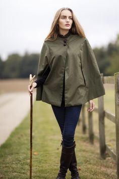 Evemy and Evemy luxury womens British cotton capes. Hand cut and handmade in England. Tweed collared luxury capes with leather football buttons. Perfect for town and country. British Country Style, Country Fashion, Capes For Women, My Wardrobe, Sage, Tweed, Lust, Celtic, Collars