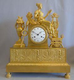French Empire ormolu mantel clock depicting vanity?. - France  1815