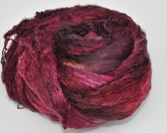 Mulberry Silk Tops, hand dyed - Ruby