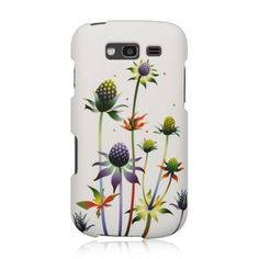 Insten White/ Spiky Weed Hard Snap-on Rubberized Matte Case Cover For Samsung Galaxy S Blaze 4G SGH-T769