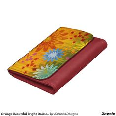 Grunge Beautiful Bright Daisies Leather Wallet