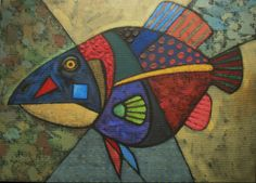 Yuri Yudaev.  Black Fish. 2014  Synthetic tempera on hardboard, 30 x 40 cm. Private collection, Magadan, Russia
