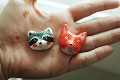 "Brooches Grecha ""Racoon"" and ""Fox""."
