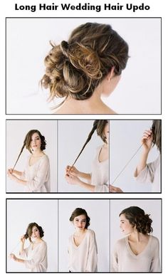 Long Hair Wedding Hair Updo  Twist, then pull up, tie