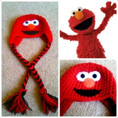 Crochet Elmo Beanie/Hat por Potterfreakg en Etsy, $15.00