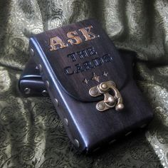 ASK The Cards...Leather Tarot Card Pouch Case. ContrivedtoCharm