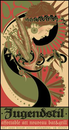 Contemporary American bar and grill ad in German Art Nouveau style Art Vintage, Vintage Posters, Vintage Prints, Vintage Ads, Belle Epoque, Art Nouveau Poster, Academic Art, Art Et Illustration, Artist Canvas