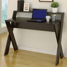 Features:  -Spacious rectangular top with a hutch like shelf atop.  -X intersecting legs provide the office desk a modern appearance.  Desk Type: -Writing desk.  Top Finish: -Cappuccino.  Base Finish: