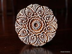 Carved Indian Wood Block Stamps- Round Floral Motif