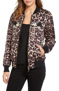 Free shipping and returns on Pam & Gela Embellished Bomber Jacket at Nordstrom.com. Ferocious embroidered felines embellished with glittering jewels amp up the fierce factor of a silky, leopard-print bomber jacket marked with subtle destruction along the collar, cuffs and hem.