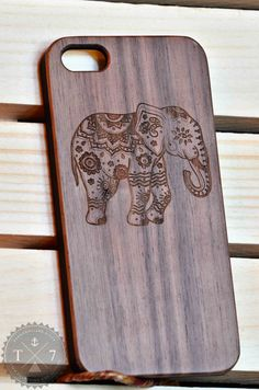 Indian Elephant Wooden iPhone 5 5s iPhone 6 case by StudioT7