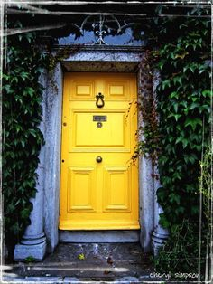 Front Door Color Inspiration - Life on Hill St Cool Doors, Unique Doors, The Doors, Windows And Doors, Yellow Front Doors, Front Door Colors, Porte Cochere, When One Door Closes, Closed Doors
