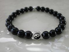 Black Jasper Gemstone Ying Yang Stacking Bracelet. Yoga. Tai Chi. Qigong. Tranquility. Grounding. Chakra Balancing. by MECODesignsJewelry on Etsy