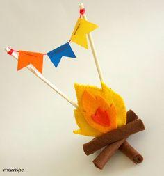 Fogueira em feltro  #artesanato #festajunina #feltro #bandeirola #fogueira #saojoao #handmade #dica #ideia #facavocemesmo #tutorial #passopasso #festa #lembrancinha #molde #pap #decoracao #criativo #quadrilha #marrispe