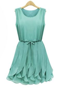 Green Sleeveless Pleated Chiffon Dress with Ruffles