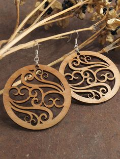 Filigree Earrings  Laser Cut Wooden Hoops  by TimberGreenWoods, $15.95