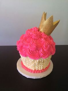 Royal pink white and gold 1st birthday cake smash with edible gold glitter crown
