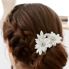 Crystalized lace applique bridal hair pins