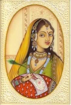 Indian Miniature Painting Handmade Faux Ivory Lady of Love Watercolor Ethnic Art.