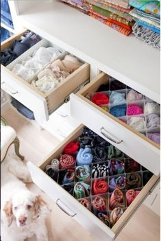 The Container Store...snap in drawer organizers.  This would be great for socks, panties, tights, and camisoles.