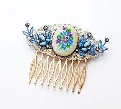 Vintage Limoges Hair Comb Floral Motif Brass Filigree Leaves Swarovski Crystal Victorian Shabby Chic Wedding Cream Blue Violet Green OOAK - pinned by pin4etsy.com