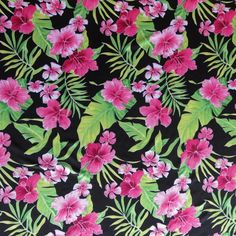 The Fabric Fairy Tropical Floral on Black Nylon Spandex Swimsuit Fabric