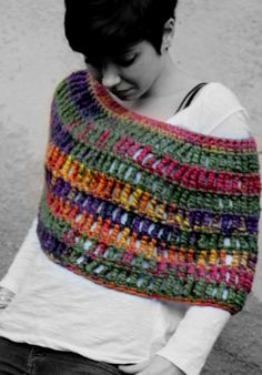 This is handmade from Etsy! Crochet Capelet Chunky Crochet Capelet by RubyLovesFlamingos, £40.23