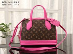 Replica Louis Vuitton LV Quality 1:1 Rose Red Leather Monogram Canvas Rose Red Leather Famous Brand Handbags