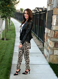Kiss Me Darling: Sorry I'm Late graphic tee, leopard pants, leopard track pants, joggers, leather jacket, black heels