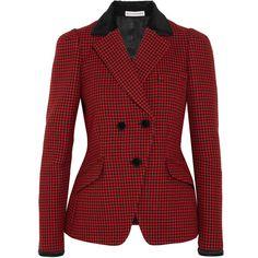 Altuzarra Paladini velvet and satin-trimmed houndstooth wool jacket (28.456.235 IDR) ❤ liked on Polyvore featuring outerwear, jackets, altuzarra, red velvet jacket, houndstooth jacket, tailored jacket and red jacket