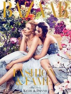 Kylie & Dannii Minogue Land December 2014 Cover of Harpers Bazaar Australia