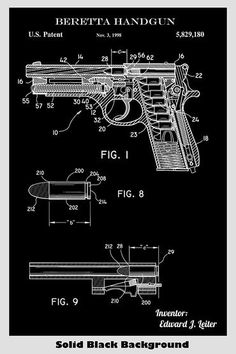 cool guns for womens License Plate Art, Weapon Storage, Patent Drawing, Patent Prints, Photoshop, Firearms, Hand Guns, Colorful Backgrounds, Art Prints