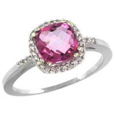 Sabrina Silver 10K White Gold Diamond Natural Pink Topaz Ring Cushion-cut 7x7mm, 3/8 inch wide, sizes 5-10