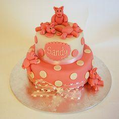 Pretty Pink Pigs Cake