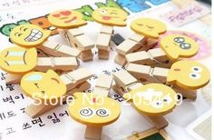 Cartoon face Wooden Note Clips holder Educational Toy Emotion Paper Photo Bookmark memo name card folder   CN post $22.79