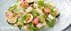 Makkelijk vegetarisch couscous gerecht met veel groente, feta en pistachenootjes