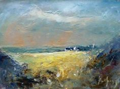 Cottage Across Field of Liquid Yellow - oil painting on panel by Steve Slimm. Landscape Paintings, Landscapes, Paintings I Love, Cornwall, Make It Simple, Cottage, Oil, Yellow, Artist