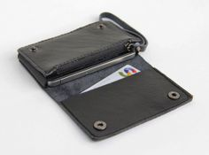 Leather iPhone wallet case with mini zipper in black (For iPhone4/4s) on Etsy, $35.00