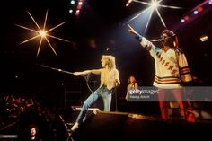 American vocalist Lou Gramm, British guitarist Mick Jones and American bassist Ed Gagliardi of the British-American rock group Foreigner performing live at New Haven Veteran's Coliseum on January 1, 1978 in New Haven, Connecticut.
