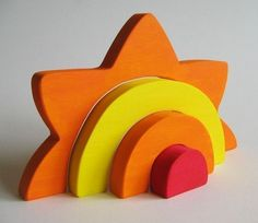 Large Sun Stacker  Waldorf Wooden Toy Earth Day by Imaginationkids, $25.00