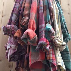 Pastel flannels, All sizes, plaid shirts, worn in old flannel shirt, Soft Grunge and Hipster by The Vintage Vow on Etsy