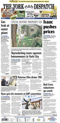 York Dispatch front page for Aug. 30, 2012