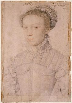 ELIZABETH DE VALOIS ~ Daughter of HENRI II & CATHERINE DE MEDICI / by Francois Clouet 1558,  3rd wife of Philip II. Portrait done at French court when she was about 12 years old.She has brown eyes here - she was considered to look at lot like her brother Charles IX king of France. Unconfirmed location of portrait.
