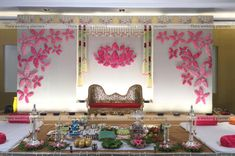 Mesmerize your guests with the charm of these engagement stage decorations ideas. Discover about the latest Engagement Stage Decoration Ideas with this post. Engagement Stage Decoration, Naming Ceremony Decoration, Wedding Hall Decorations, Desi Wedding Decor, Marriage Decoration, Backdrop Decorations, Flower Decorations, Wedding Mandap, Background Decoration